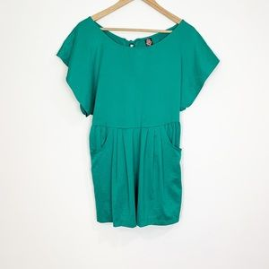 Free People Green Satin Short Sleeve Dress Size 8